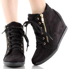 Women High-Tops Wedge Heel Sneakers Platform Lace Up Tennis Shoes Ankle Booties
