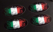 Italia Bandera Fade To Black Oval Auto Moto pegatinas 50mm Set De 4 Italiano Moto