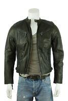 Mens Leather Black 2 Zip Diamond Biker Rock Fashion Jacket