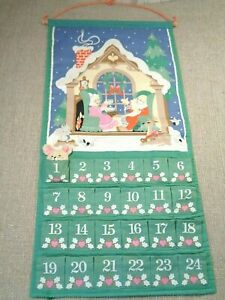 Vtg Avon 1987 Christmas Countdown Advent Calendar with Mouse Fabric Wall Hanging