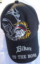 BRAND NEW BIKER TO THE BONE  black  ADJUSTABLE CAP.... FREE POSTAGE