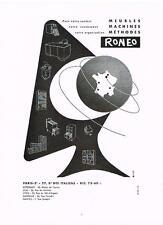 PUBLICITE ADVERTISING   1953   RONEO  rangements agencements bureaux