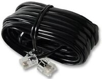 3m RJ11 - RJ11 4 Pin Fully Wired High Speed Broadband Internet ADSL Cable Black