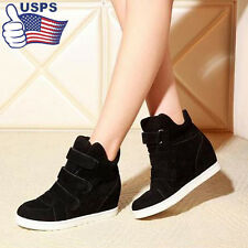Women Black Casual Shoes Autumn Summer Hidden Heel Flock Wedge Lady Boots Shoes