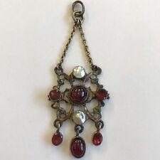 Antique 19th C Austro Hungarian Silver Pearl Enamel & Garnet Pendant Maker HB