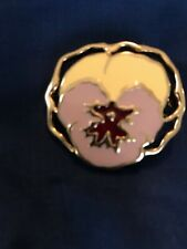 """1990s Avon vintage gold tone and enamel pansy brooch """"full bloom"""""""