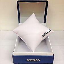 New SEIKO Blue PU Watch Box Presentation Storage Case with matching pillow
