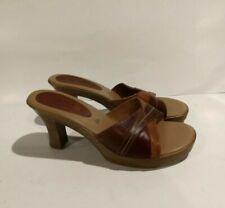 Fioni Leather Slides Platform Heels Open Toe Womens Sandals Brown Tan Red Sz 8.5