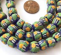 handmade Ghana Recycled glass multi Yellow eye Round African trade beads