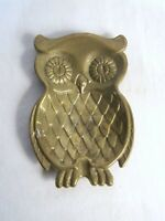 Small Vintage Solid Brass Owl Ashtray Collectable