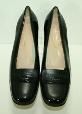 Salvatore Ferragamo Black Patent Leather Shoe Size US 6 1/2 B 6.5 Low Heel Italy