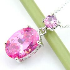 Kunzite Gemstone Silver Pendants Necklaces Wedding Romantic Oval Fire Pink