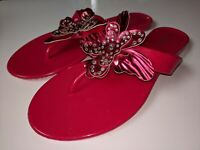 Nine West Womens  Butterfly Pink Jelly Crystal  Thong Flip Flops Size 7 -8