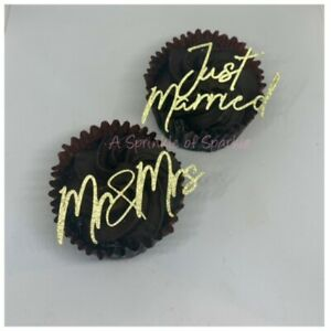 6 JUST MARRIED MR & MRS CUPCAKE TOPPERS GLITTER WEDDING CAKE TOPPER
