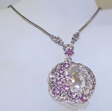 GENUINE! 2.35cts African Ruby & Marcasite Pendant/Necklace S/Silver 925!