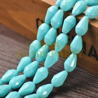 New Arrival 10pcs 16X10mm Faceted Teardrop Loose Spacer Glass Beads Lt Lake Blue