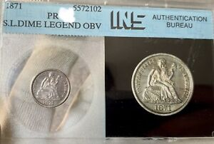 1871 PROOF ~ Vintage 80's Holder INS ~ Seated Liberty Dime ~ Tough Date Coin!