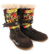 Ed Hardy Boots Brown Suede Dedicated To The One I Love Tattoo Fur Tall Women's 5