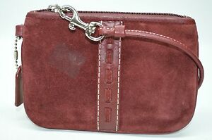 Coach Burgundy Suede Laced Small Top Zip Wristlet Cosmetic Purse Clutch
