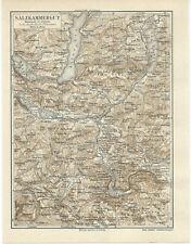 Salzkammergut historische Landkarte um das Jahr 1890 Österreich
