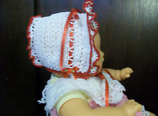 BABY GIRLS BONNET Crochet Handmade White & Red Size 2M to 6 Months