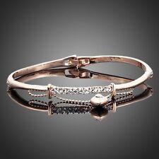 18K Gold Plated Made With Swarovski Austrian Crystal Heart Charm Bangle Bracelet