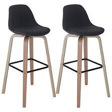 2x tabouret de bar Palmdale, chaise de comptoir avec dossier ~ tissu, gris foncé