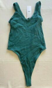 Out From Under Green Ribbed Bodysuit Size M/L New With Tags UK Seller