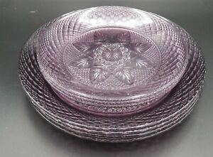 7 VTG Luminarc Aroroc France Cristal d'Arque Durand plates Amethyst purple MINT!