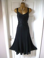 LADIES M&S PER UNA STUNNING FLOATY BLACK DRESS SIZE 14 CHRISTMAS/PARTY/ EVENING