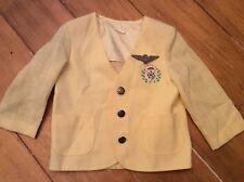 Vintage mid century Boy Yellow suit jacket Halloween pilot TWA pin 12-24 month