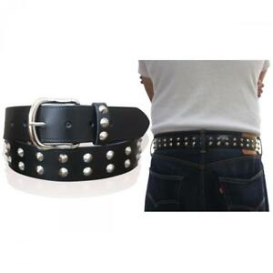 "MENS LEATHER BELTS WOMENS SPIKE BIKER 1.5"" WIDE PUNK REAL BELT MADE IN ENGLAND"