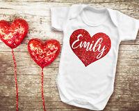 Custom Name Valentine/'s day white bodysuit baby grow vest with red glitter heart