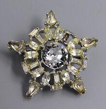 Vintage Jewelry Faceted Crystal Teardrop Snowflake BROOCH PIN Rhinestone Lot Y