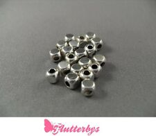 20 Silver Plated Cube Spacer Beads, Jewellery Making Findings, 4mm, crafts