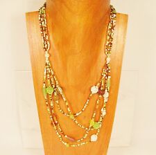 "26"" Classic Vintage Multi Strand Green Gold Handmade Mixed Seed Bead Necklace"