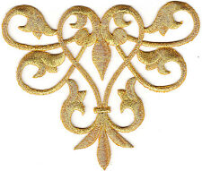 GOLD METALLIC TRIM ACCENT - EMBELLISHMENT - Iron On Embroidered Applique Patch