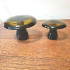 Vintage Maleras Amber Glass Mushrooms Set Of 2 Made Sweden Mid Century