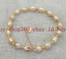 Fashion 7-8mm White Pink Baroque Freshwater Pearl Bracelet 7.5'' AAA