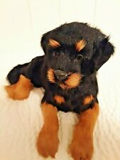 Rottweiler Dog Figurine realistic goat fur laying down display collectible