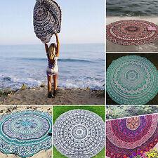Indian Mandala Tapestry Hippie Bikini Cover up Yoga Beach Throw Round  Blanket
