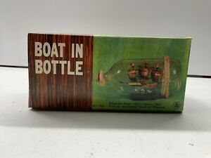 Vintage Model Ship In Glass Bottle Maritime Nautical Boat Sail WITH STAND