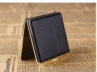 Fashion Black Thick Stripe Portable Leather Cigarette Case (Hold 20 Cigarettes)*