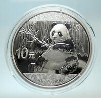 2017 CHINA PANDA w Branch & TEMPLE of HEAVEN Silver 10 Yuan Chinese Coin i76479