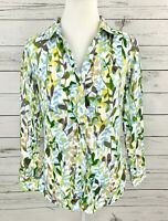 Casual Studio Top Womens Medium M Green Floral Button Long Sleeve Fitted Collar
