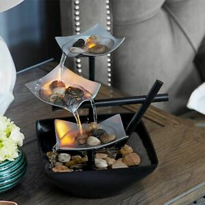 Mini Tabletop Water Fountains Indoor Flowing Waterfall Feng Shui Home Decoration