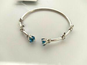 Silver with Blue Topaz Cuff Bracelet