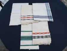 OLD ANTIQUES PRIMITIVE HAND WOOVEN HOMESPUN TOWELS COTTON - LOT OT 5