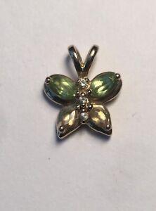 10k Solid Yellow Gold Butterfly Pendant - Peridot, Citrine, & Diamond - 1.4g