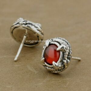 925 Sterling Silver Round Claw Red CZ Stone Mens Biker Stud Earring 8R023A